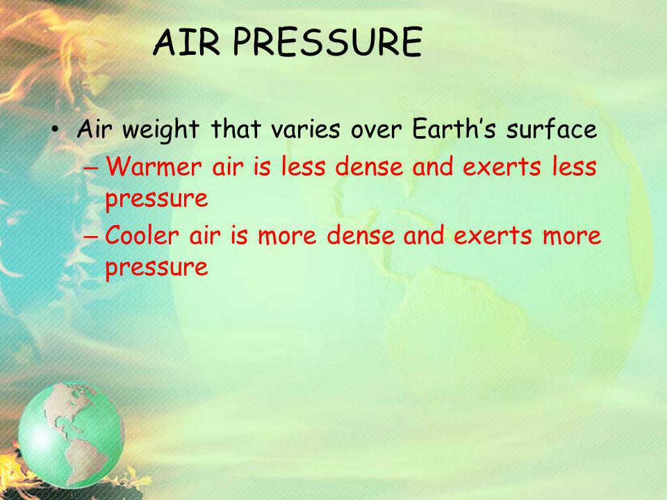 AIR PRESSURE Air weight that varies over Earth's surface