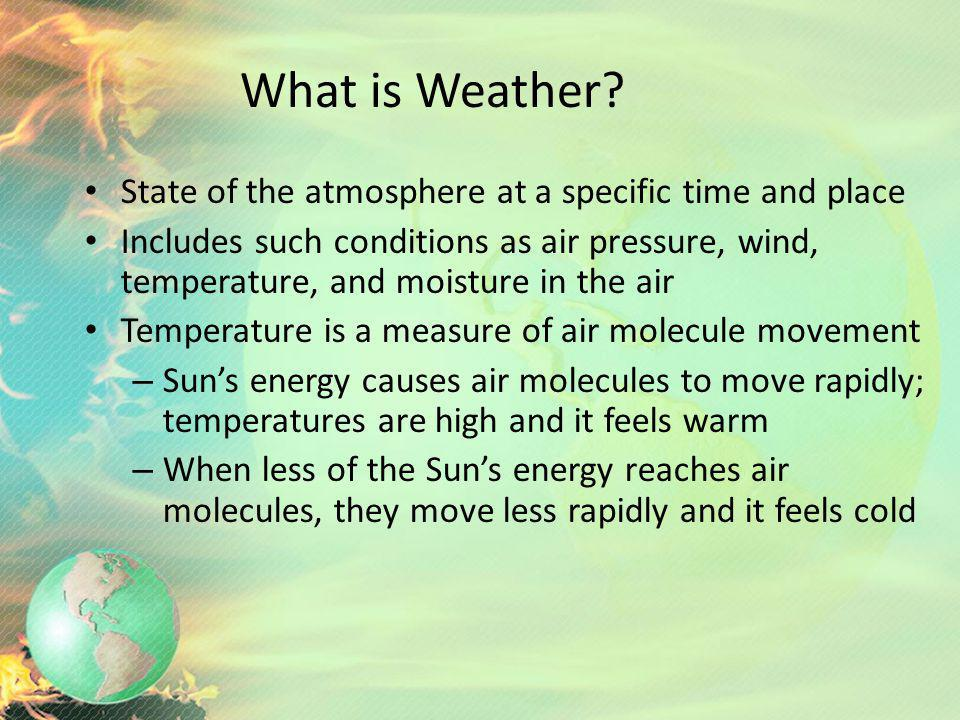 What is Weather State of the atmosphere at a specific time and place
