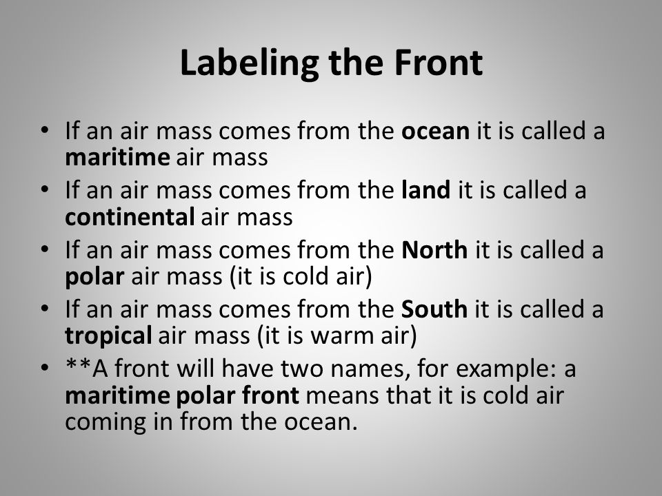 Labeling the Front If an air mass comes from the ocean it is called a maritime air mass.