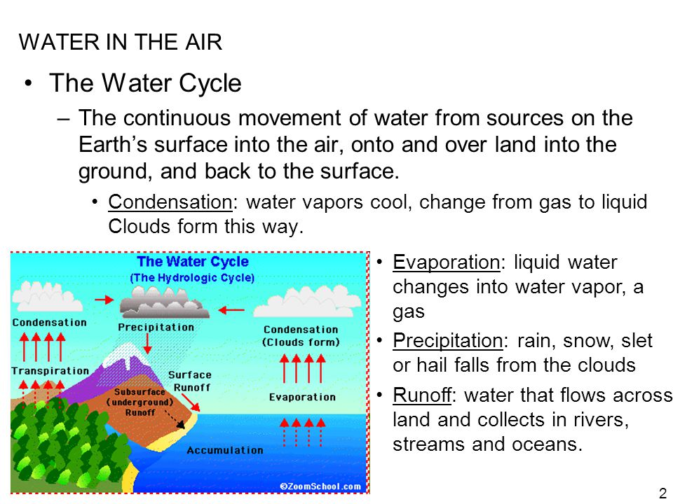 The Water Cycle WATER IN THE AIR