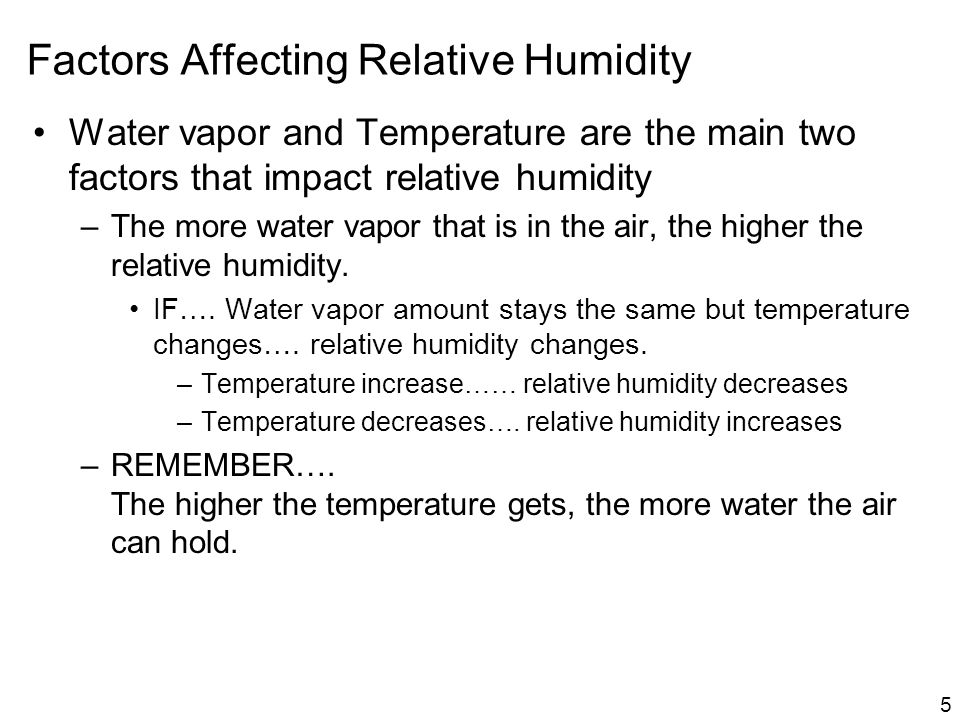 Factors Affecting Relative Humidity