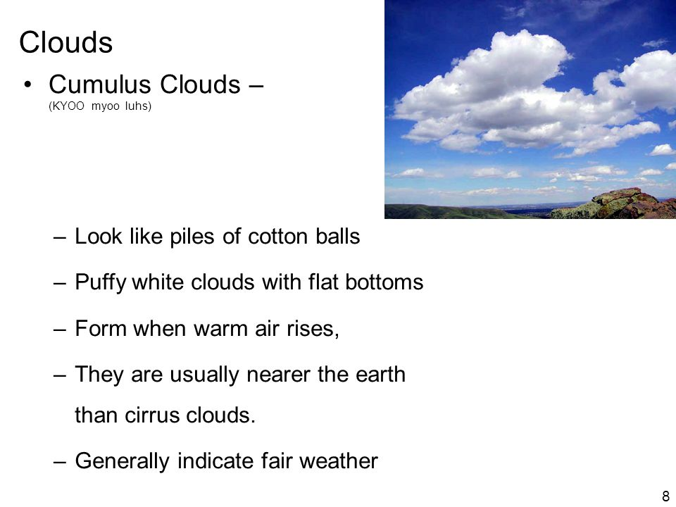 Clouds Cumulus Clouds – (KYOO myoo luhs)