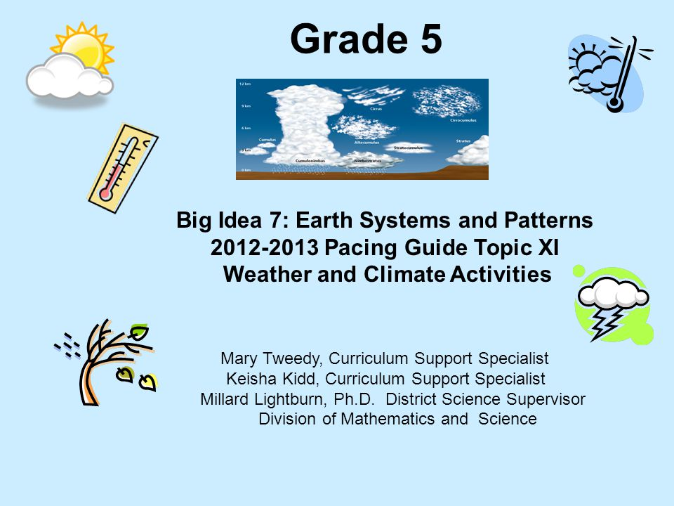 Big Idea 7: Earth Systems and Patterns Weather and Climate Activities