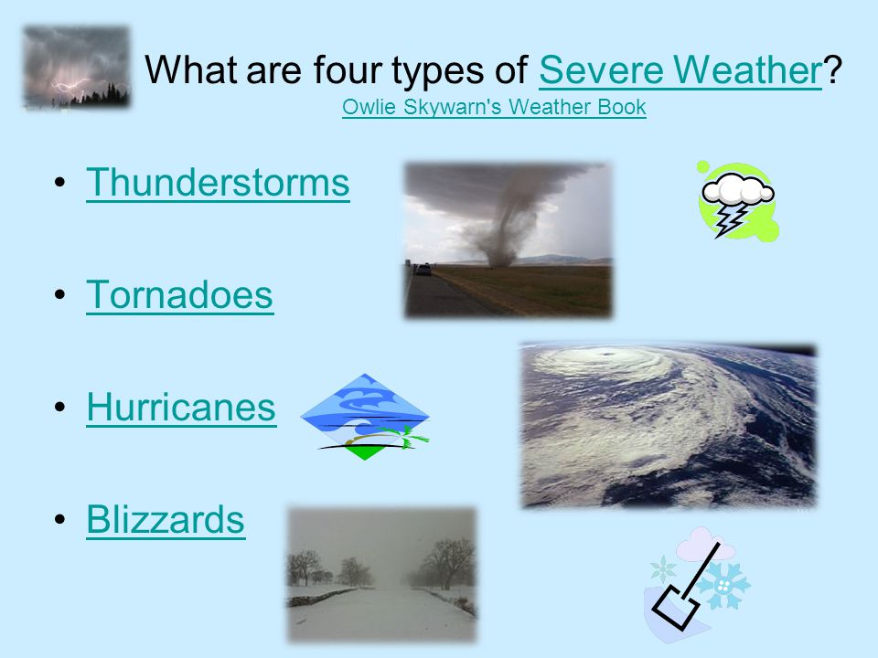 What are four types of Severe Weather Owlie Skywarn s Weather Book