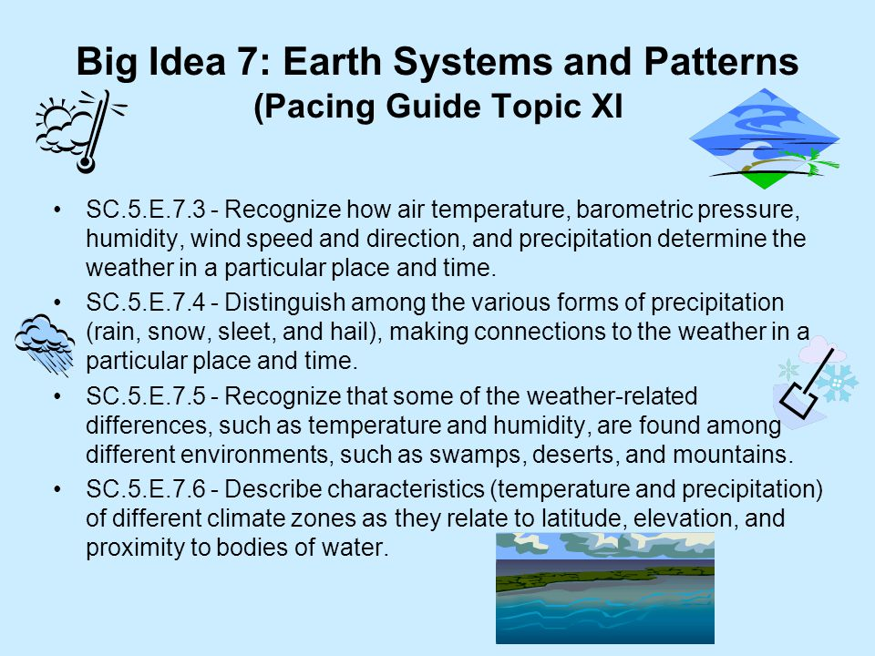 Big Idea 7: Earth Systems and Patterns (Pacing Guide Topic XI