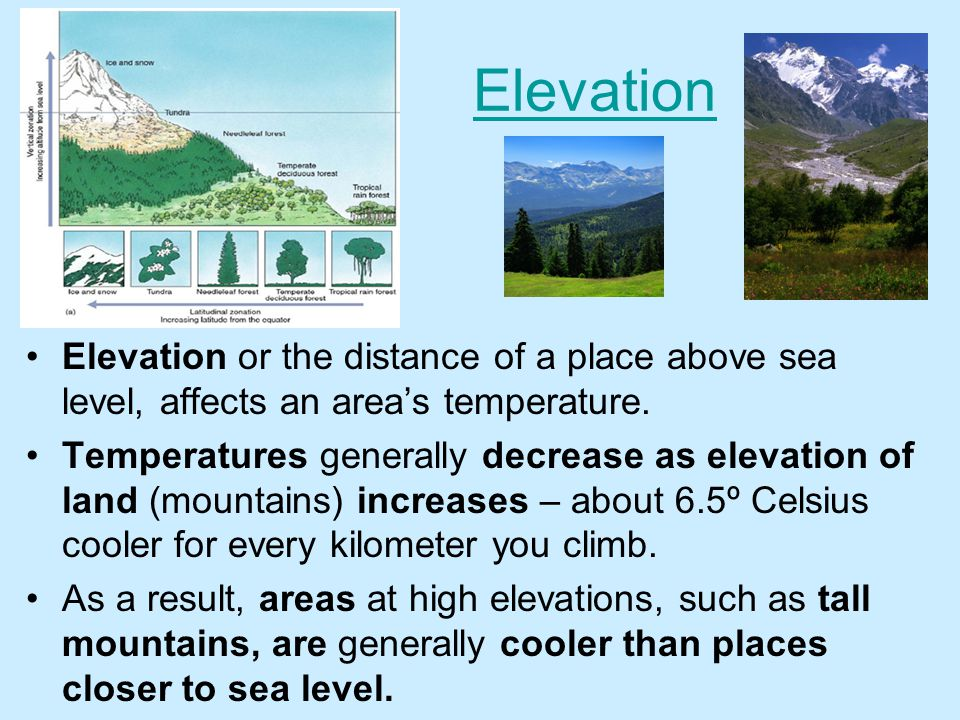 Elevation Elevation or the distance of a place above sea level, affects an area's temperature.