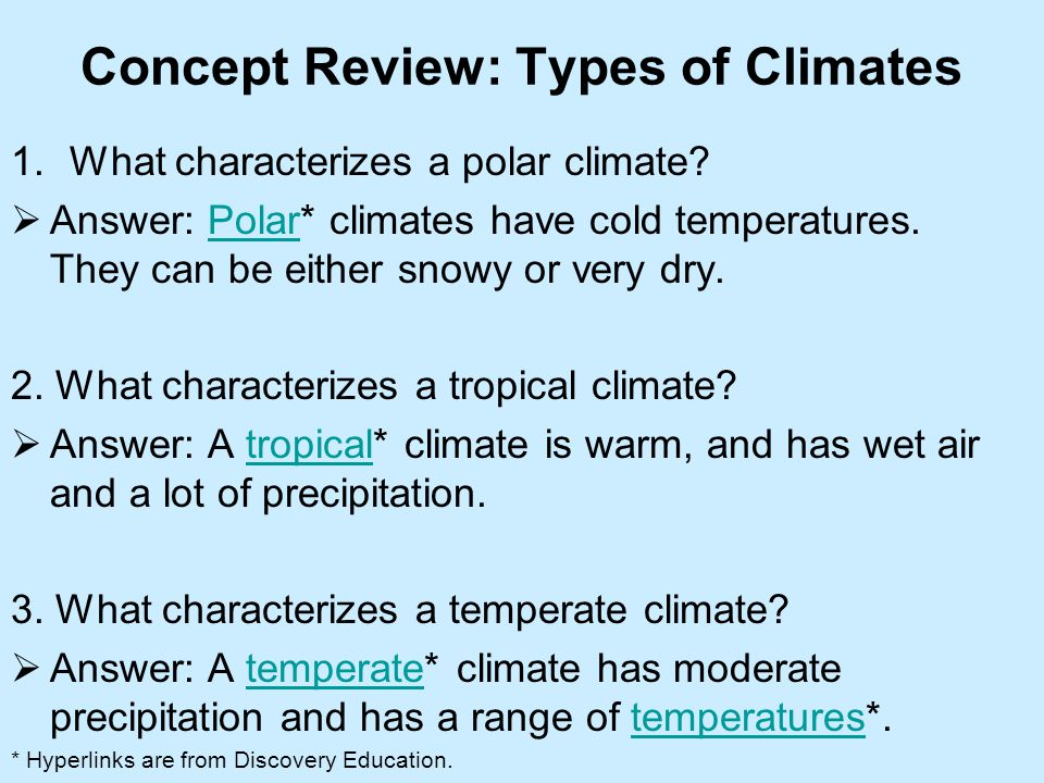 Concept Review: Types of Climates
