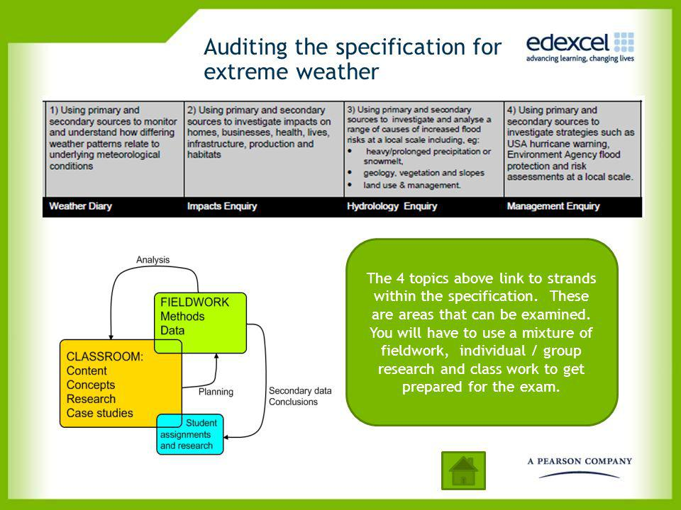 Auditing the specification for extreme weather