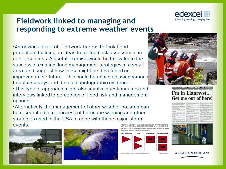 Fieldwork linked to managing and responding to extreme weather events