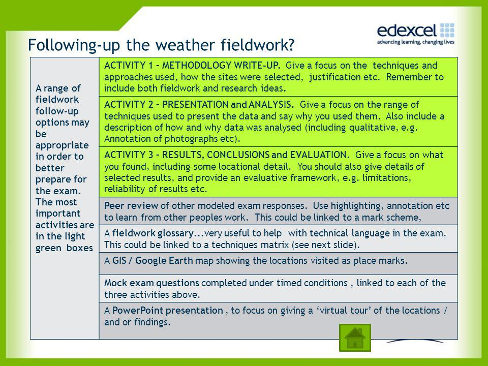 Following-up the weather fieldwork