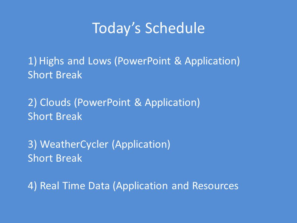 Today's Schedule Highs and Lows (PowerPoint & Application) Short Break