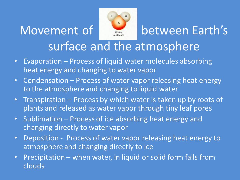 Movement of between Earth's surface and the atmosphere