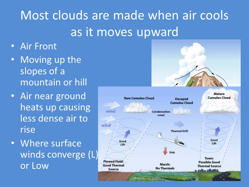 Most clouds are made when air cools as it moves upward