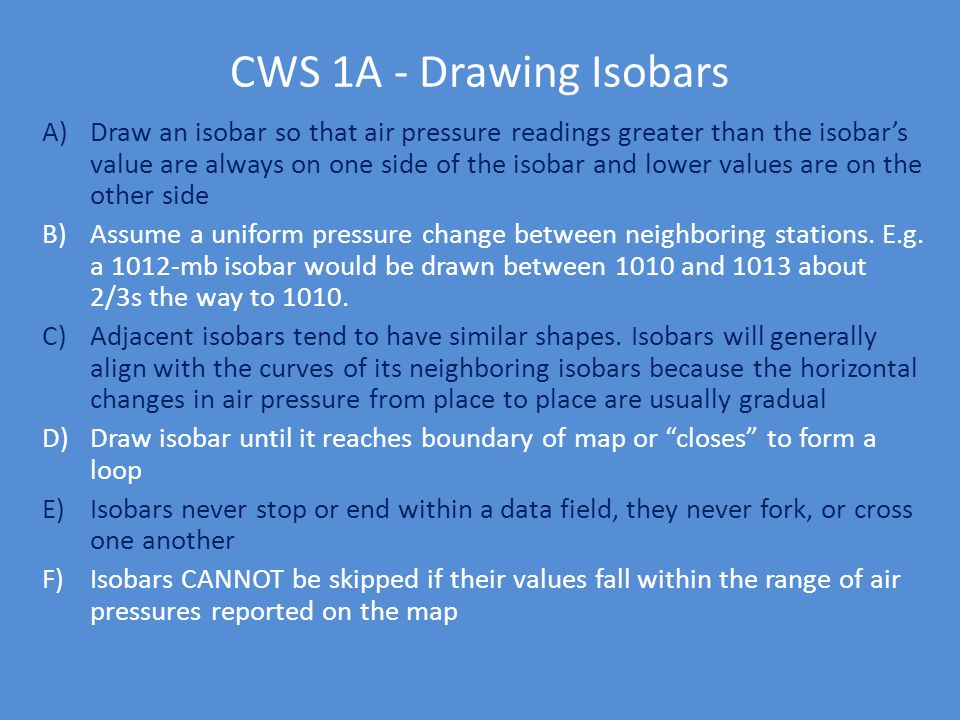 CWS 1A - Drawing Isobars