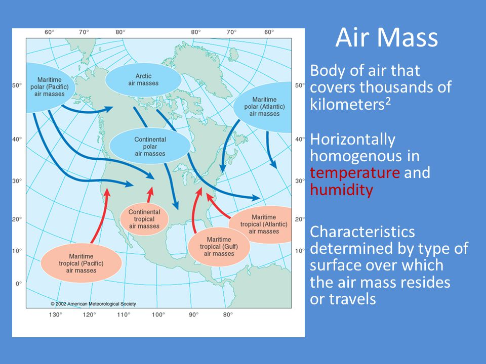 Air Mass Body of air that covers thousands of kilometers2