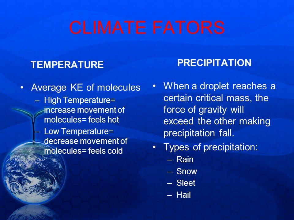 CLIMATE FATORS PRECIPITATION TEMPERATURE