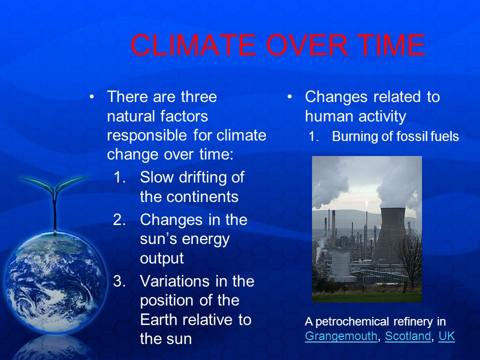 CLIMATE OVER TIME There are three natural factors responsible for climate change over time: Slow drifting of the continents.