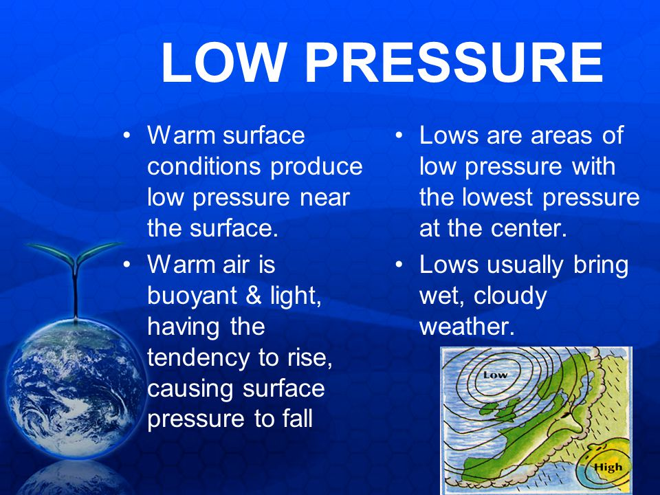 LOW PRESSURE Warm surface conditions produce low pressure near the surface.