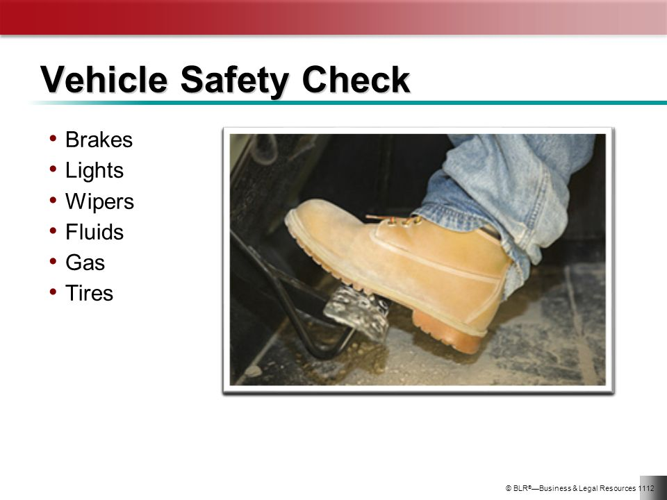 Vehicle Safety Check Brakes Lights Wipers Fluids Gas Tires