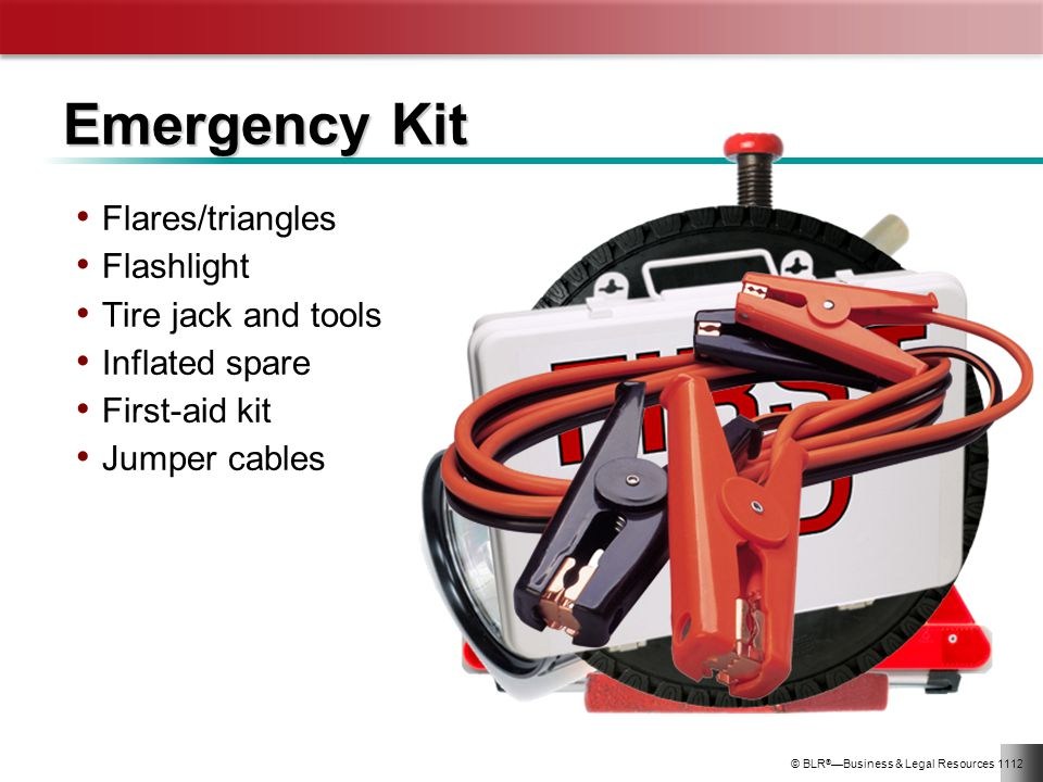 Emergency Kit Flares/triangles Flashlight Tire jack and tools