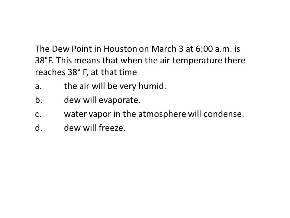 The Dew Point in Houston on March 3 at 6:00 a. m. is 38°F