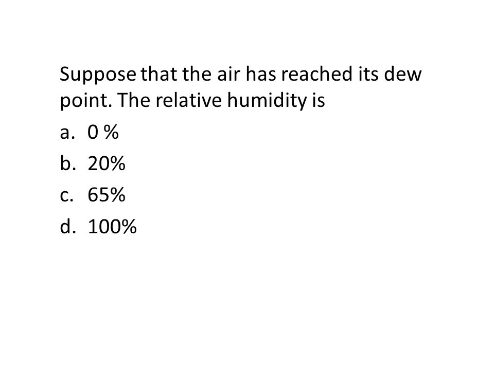 Suppose that the air has reached its dew point