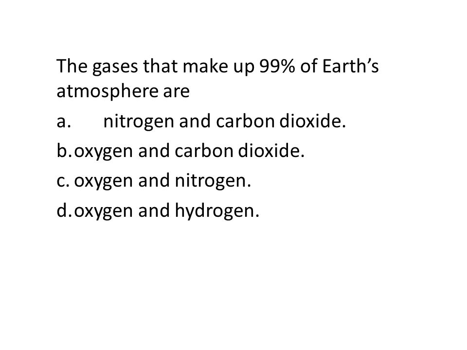 The gases that make up 99% of Earth's atmosphere are