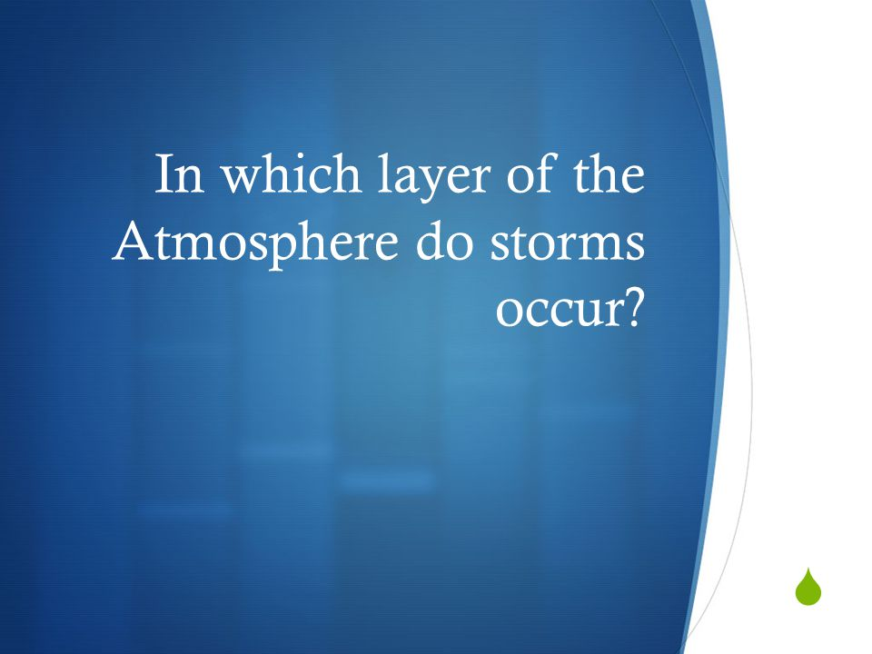 In which layer of the Atmosphere do storms occur