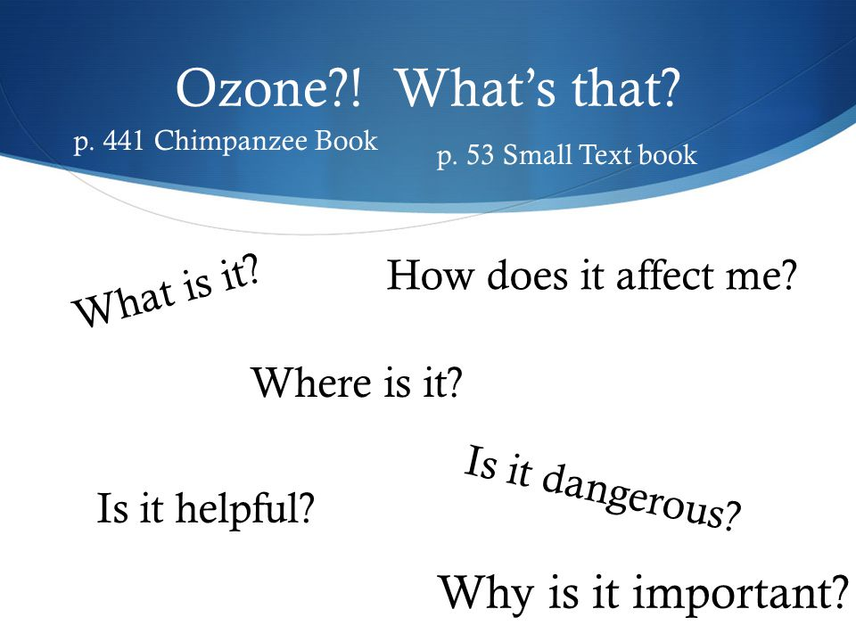 Ozone ! What's that Why is it important How does it affect me