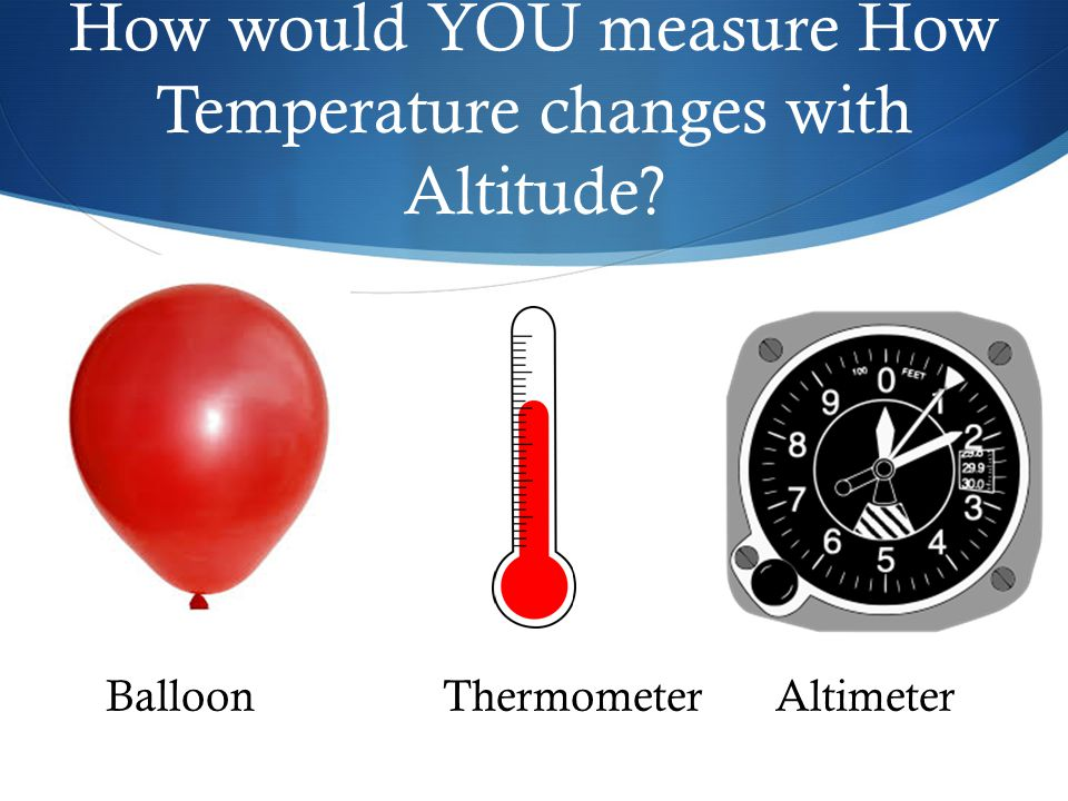 How would YOU measure How Temperature changes with Altitude