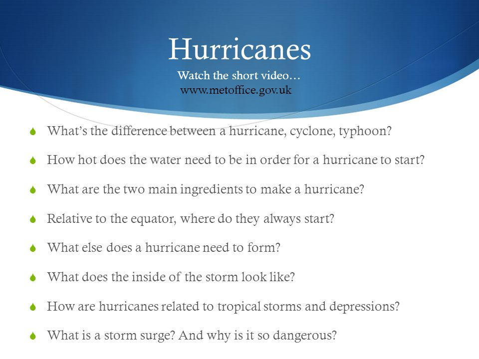 Hurricanes Watch the short video… www.metoffice.gov.uk. What's the difference between a hurricane, cyclone, typhoon