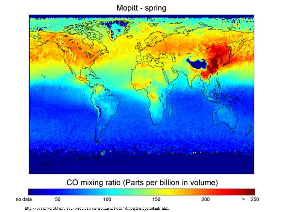 Carbon monoxide http://oceanworld.tamu.edu/resources/environment-book/atmosphericpollutants.html