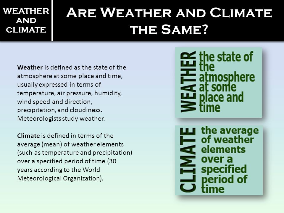 Are Weather and Climate the Same