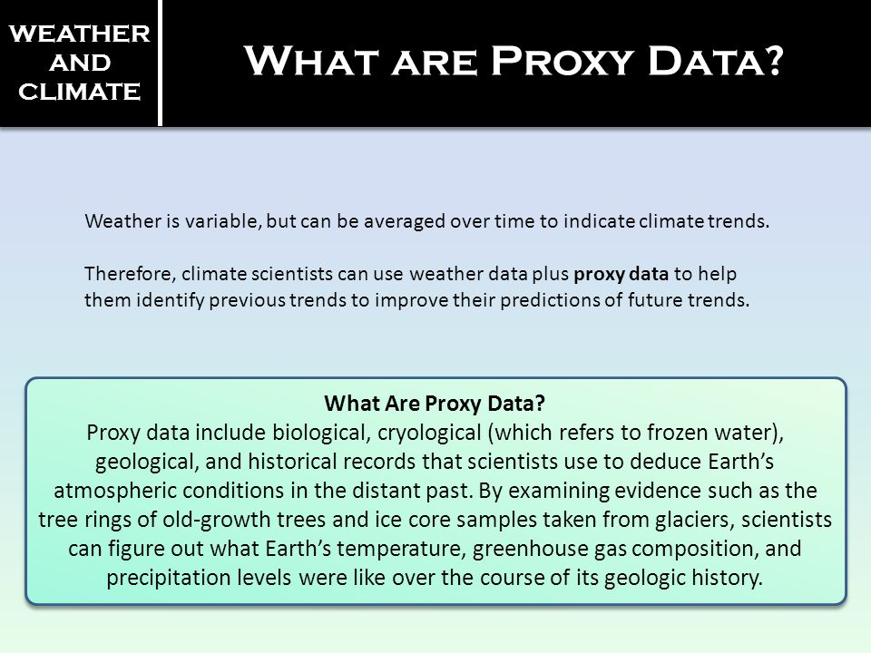 What are Proxy Data WEATHER AND CLIMATE What Are Proxy Data