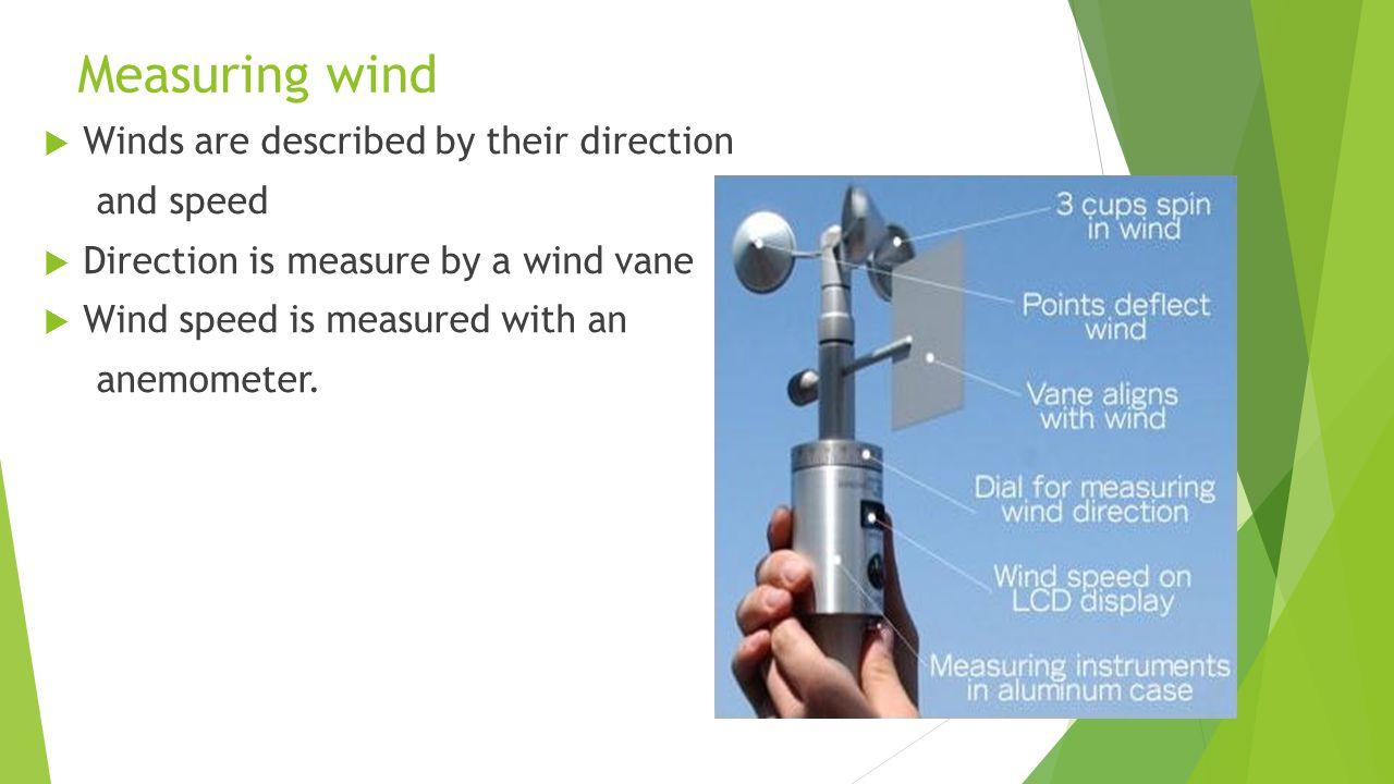 Measuring wind Winds are described by their direction and speed