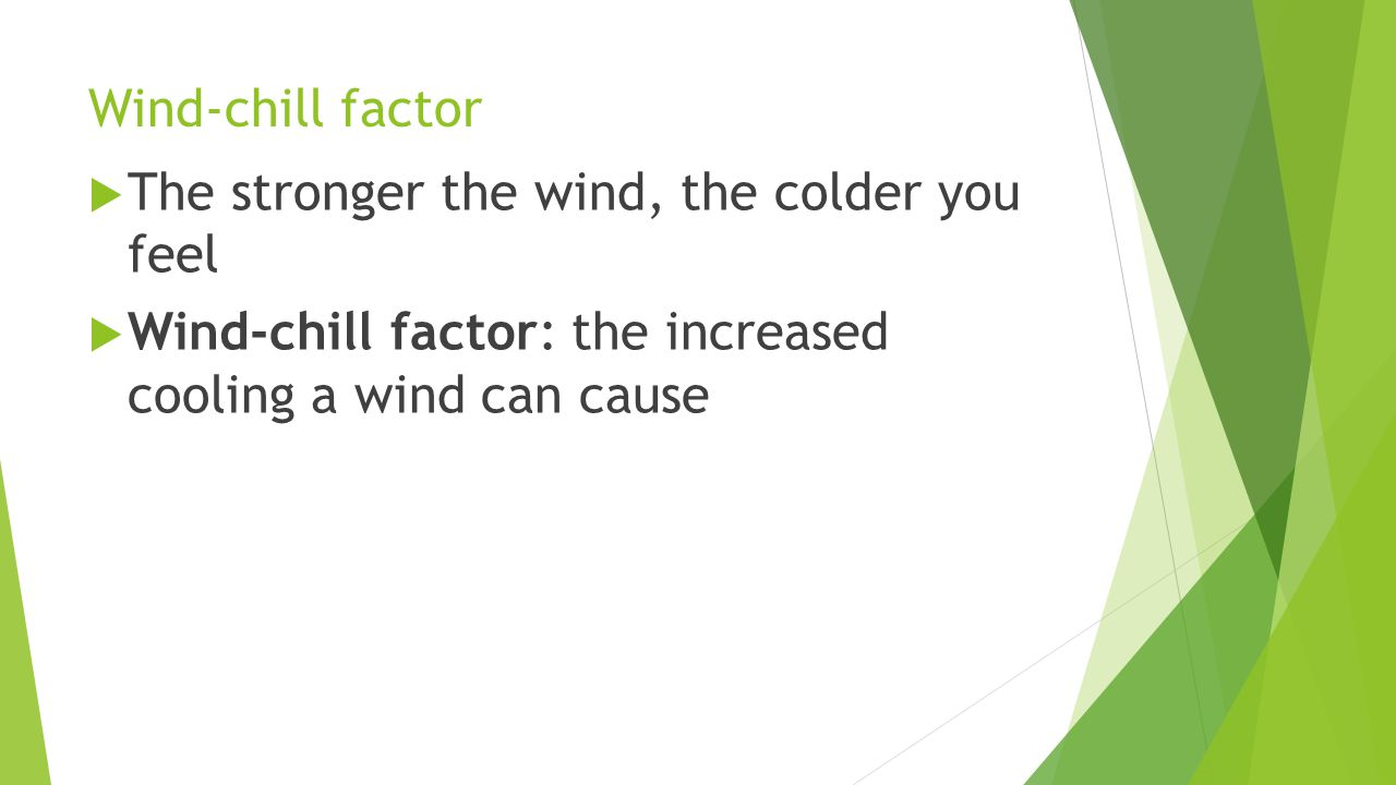 Wind-chill factor The stronger the wind, the colder you feel.