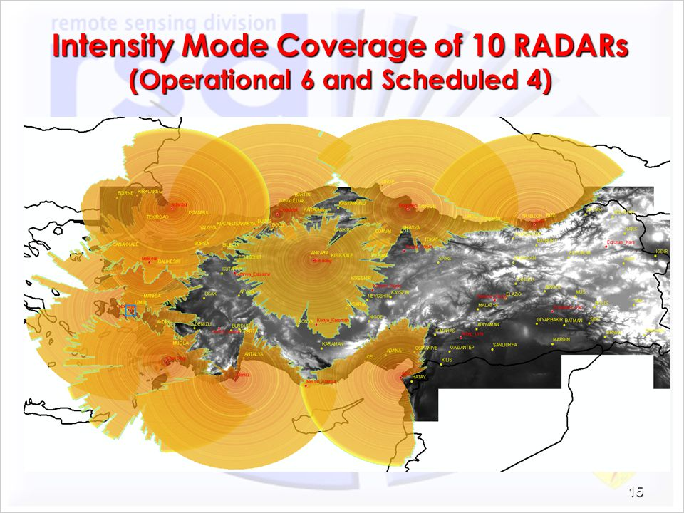 Intensity Mode Coverage of 10 RADARs (Operational 6 and Scheduled 4)