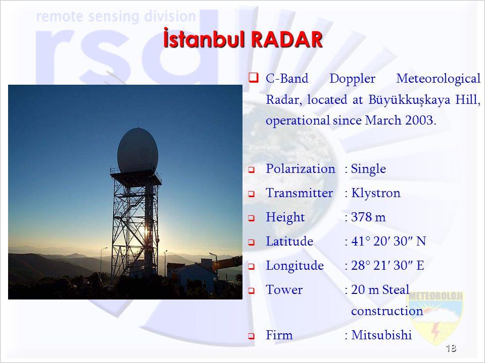 İstanbul RADAR C-Band Doppler Meteorological Radar, located at Büyükkuşkaya Hill, operational since March 2003.