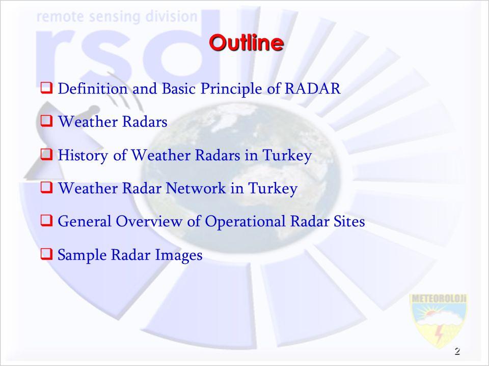 Outline Definition and Basic Principle of RADAR Weather Radars
