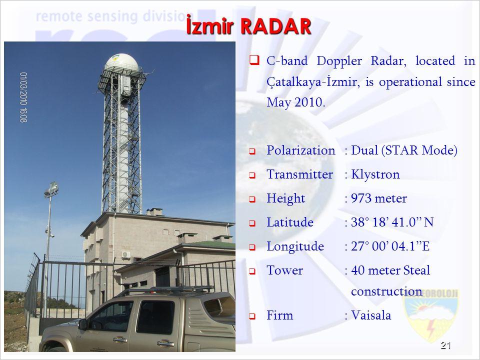 İzmir RADAR C-band Doppler Radar, located in Çatalkaya-İzmir, is operational since May 2010. Polarization : Dual (STAR Mode)