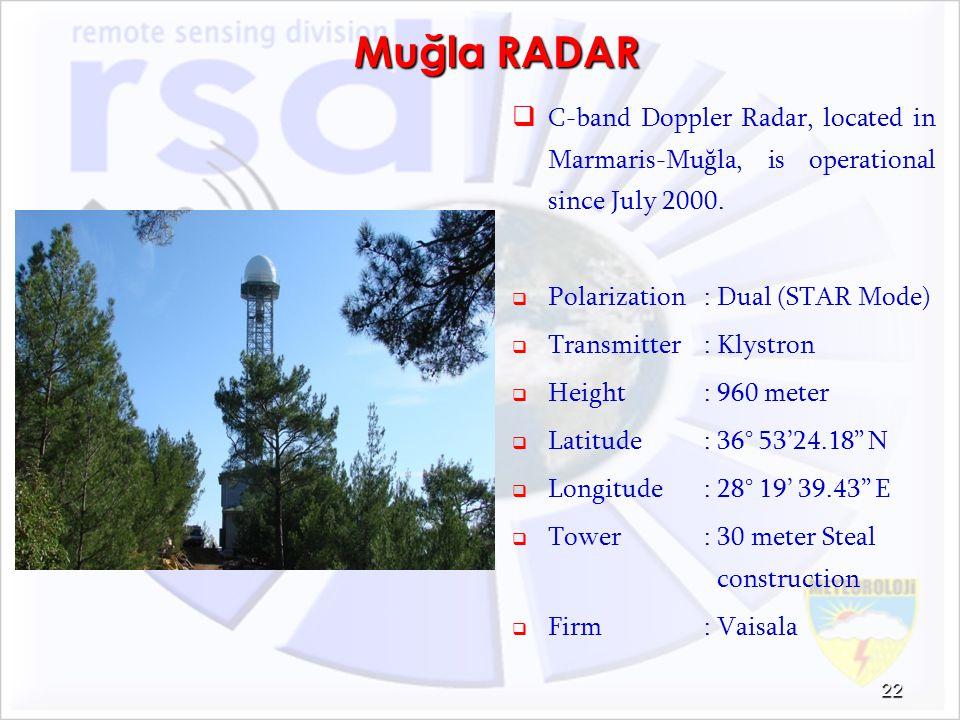 Muğla RADAR C-band Doppler Radar, located in Marmaris-Muğla, is operational since July 2000. Polarization : Dual (STAR Mode)
