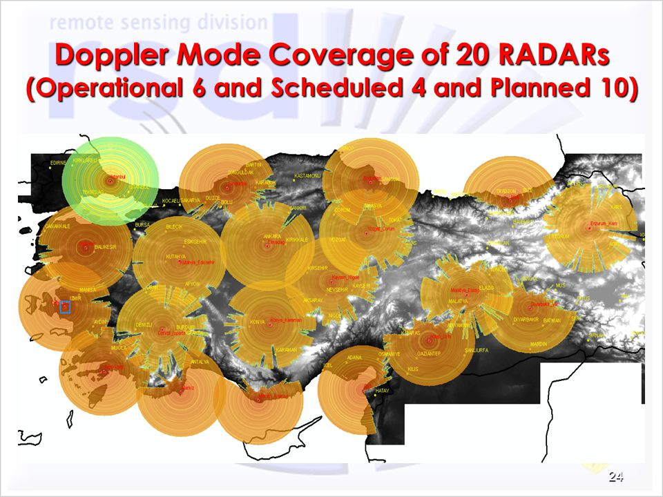 Doppler Mode Coverage of 20 RADARs (Operational 6 and Scheduled 4 and Planned 10)