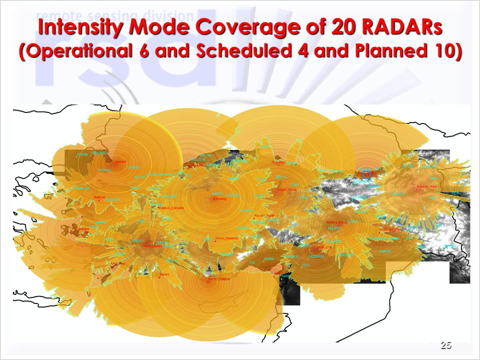 Intensity Mode Coverage of 20 RADARs (Operational 6 and Scheduled 4 and Planned 10)