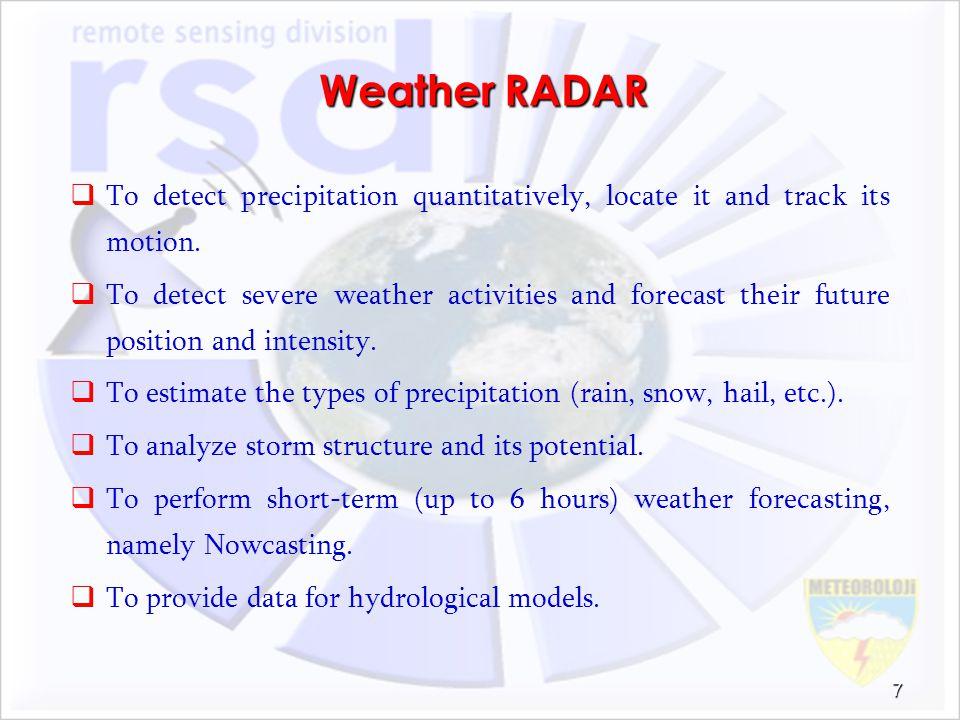 Weather RADAR To detect precipitation quantitatively, locate it and track its motion.