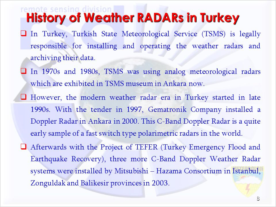 History of Weather RADARs in Turkey