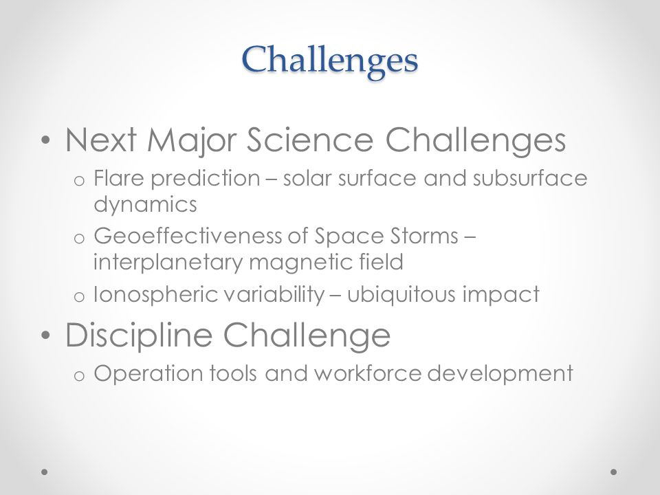 Challenges Next Major Science Challenges Discipline Challenge