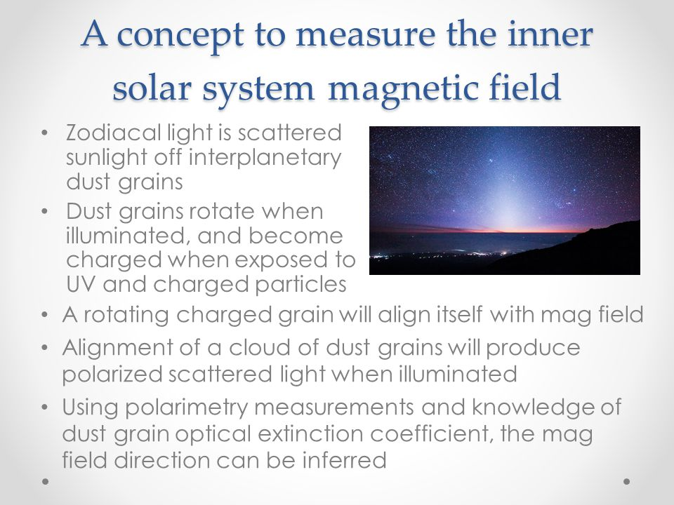 A concept to measure the inner solar system magnetic field
