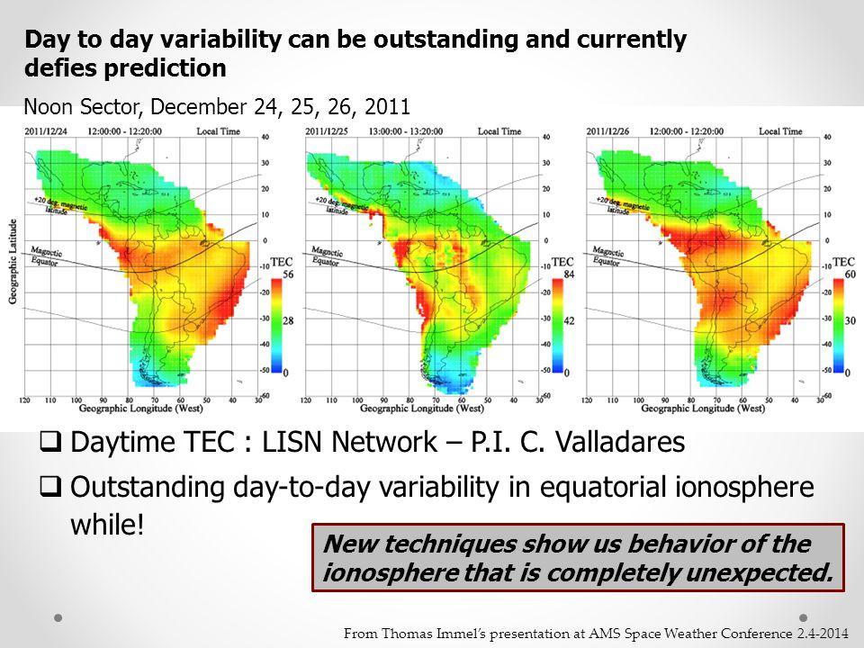Daytime TEC : LISN Network – P.I. C. Valladares