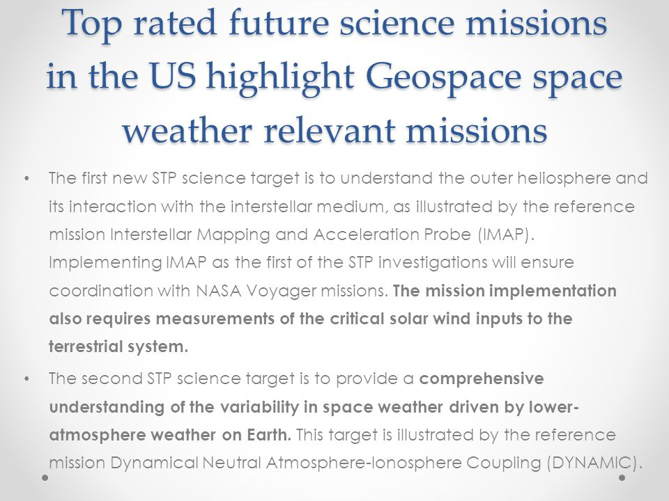 Top rated future science missions in the US highlight Geospace space weather relevant missions