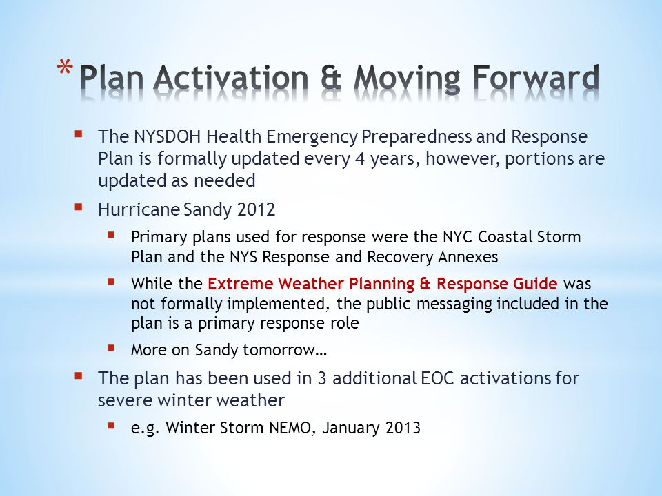 Plan Activation & Moving Forward